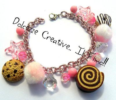 Bracciale Rosa Caramelle Merendine con girella, cookie e donut ciambella e stelle