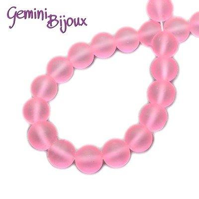 Lotto 20 Perle tonde Frosted effetto ghiaccio 8mm rosa