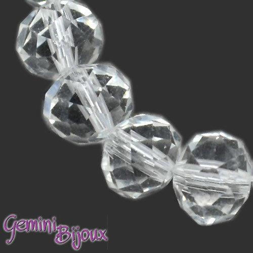 Lotto 10 rondelle in vetro sfaccettate 10x7 crystal