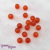 Lotto 20 Perle tonde Frosted effetto ghiaccio 8mm arancio