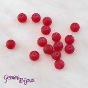 Lotto 20 Perle tonde Frosted effetto ghiaccio 8mm rosso