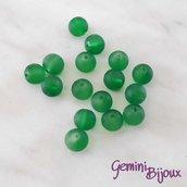 Lotto 20 Perle tonde Frosted effetto ghiaccio 8mm verde