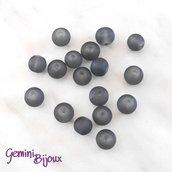 Lotto 20 Perle tonde Frosted effetto ghiaccio 8mm grigio