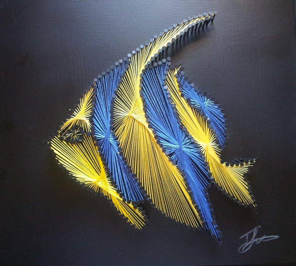 Quadro fatto a mano con fili di seta - Pesce tropicale