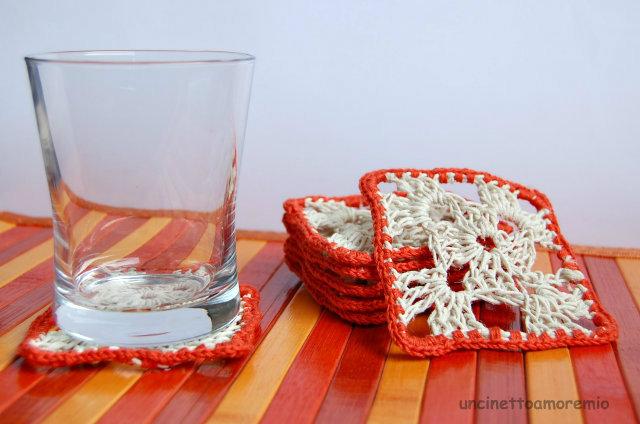 Set 6 sottobicchieri + sottobottiglia uncinetto in corda e cotone arancio