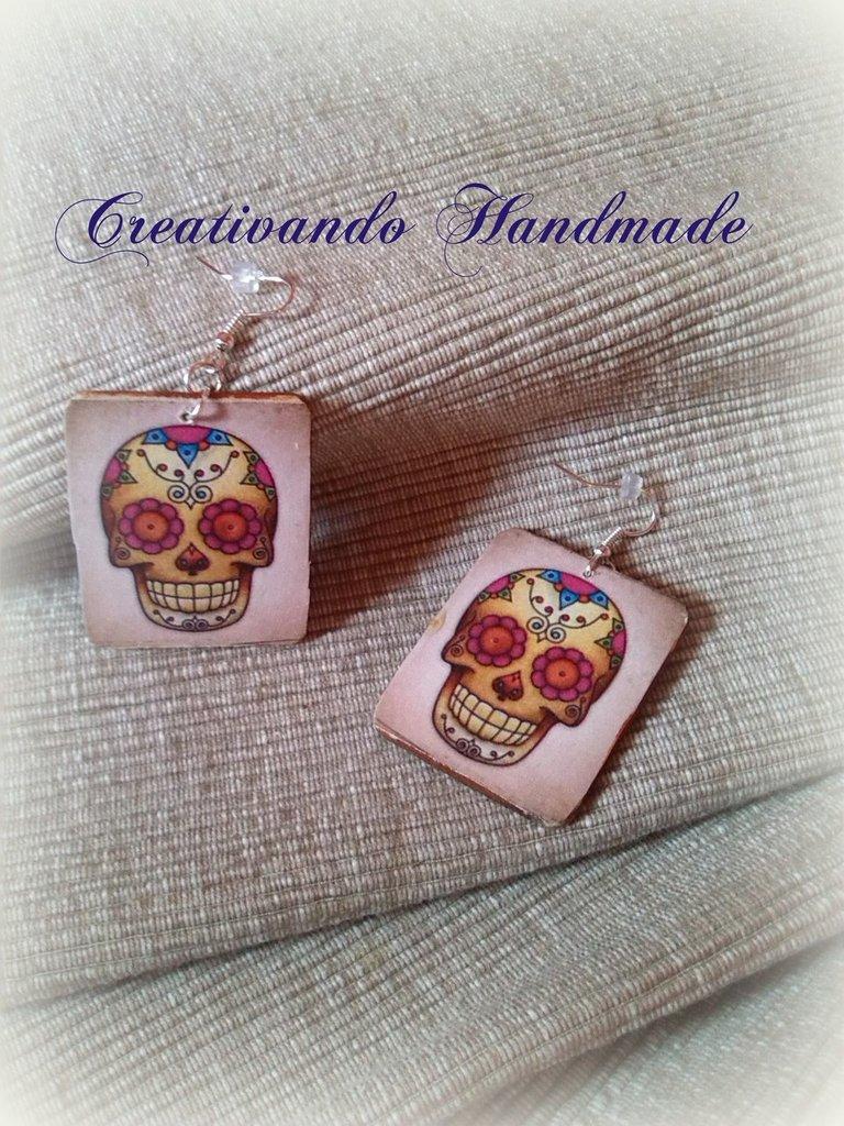 Orecchini in cartoncino Teschio messicano, Sugar Skull 'Tattoo Collection' tecnica decoupage