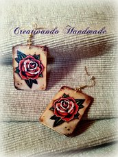 Orecchini in cartoncino Rosa Traditional 'Tattoo Collection' tecnica decoupage