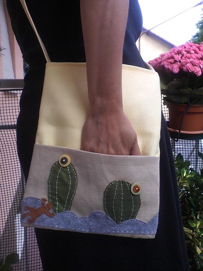 Borsa shopper cactus e gekko con tracolla