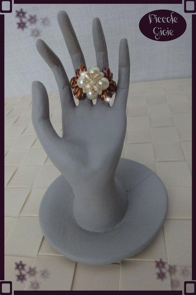Anello Bronzo/Avorio con Cristalli Swarovsky