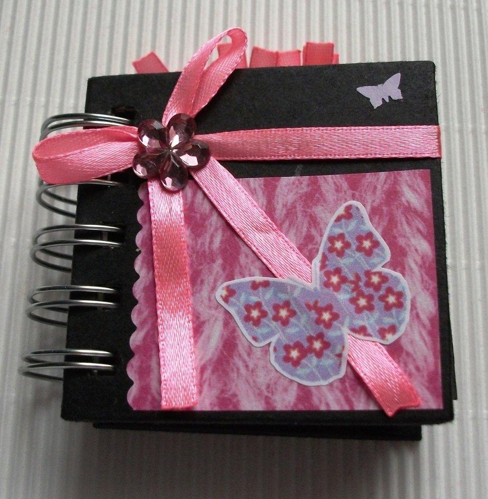 Idea Regalo! Mini Album Post-it PortaAppunti - Black&Butterfly Notes in Scrap^^