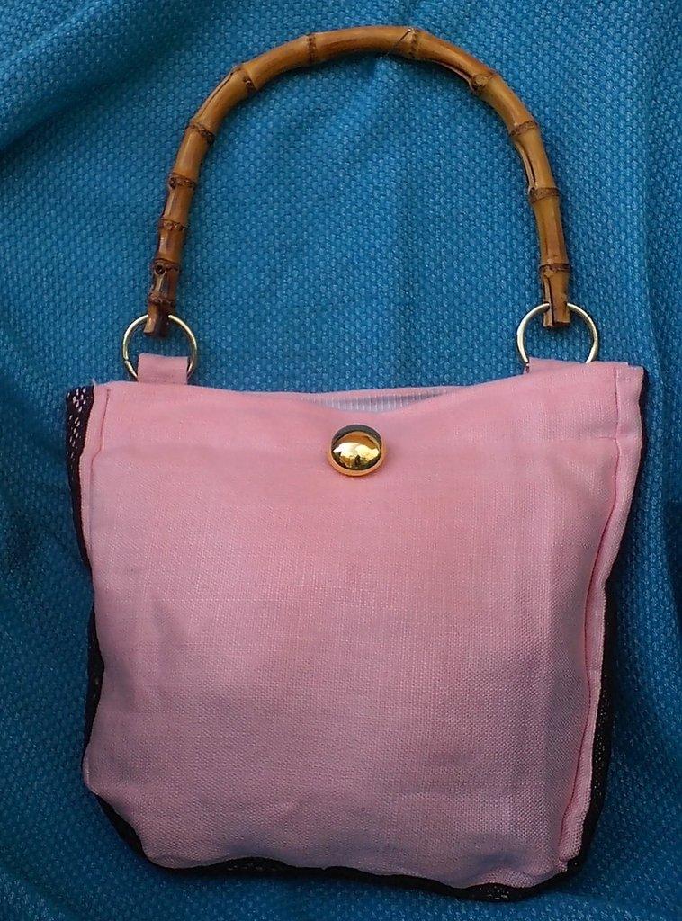 Borsa lino rosa mono spalla