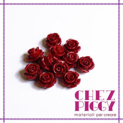 1 x perla a forma di rosa in resina - ROSSO