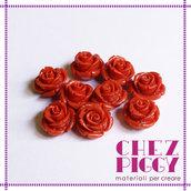 1 x perla a forma di rosa in resina - ARANCIONE SCURO MATTONE