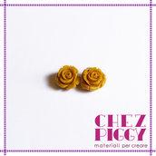 1 x perla a forma di rosa in resina - OCRA - SENAPE