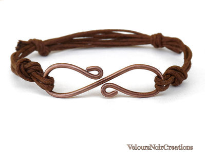 Bracciale uomo donna simbolo infinito in rame wire