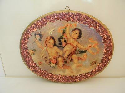 Quadretto in legno con angeli decorato a decoupage