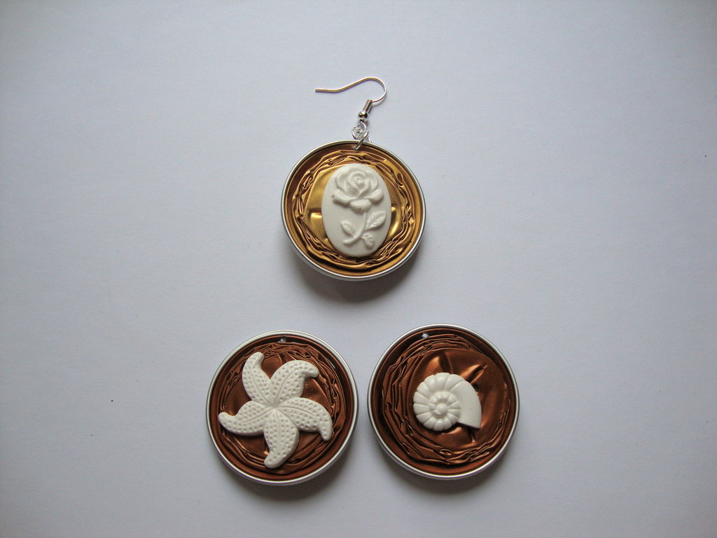 Orecchini Nespresso + miniature stella marina/conchiglia