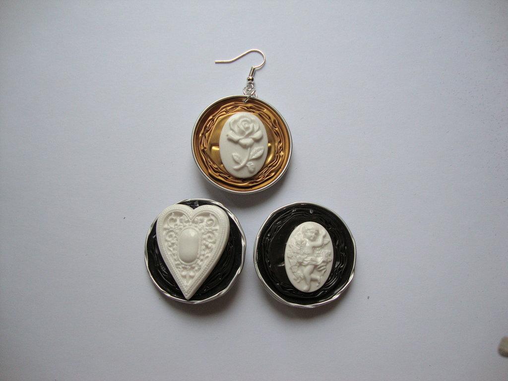 Orecchini Nespresso + miniature cuore/cameo angioletti