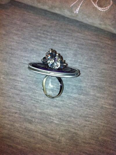 anello con capsula nespresso e ametiste