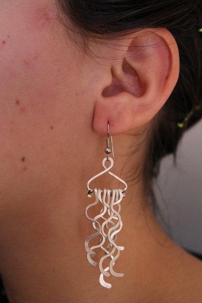 """Orecchini """"Medusa"""" in argento battuto (formato medio)"""