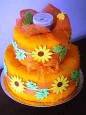 "Torta di pannolini ""Country Dream""  - Cake design style - Arancione per bimbo o bimba"