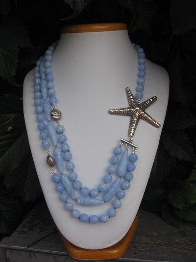 collana di calcedonio azzurro-bianco e argento thai
