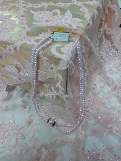 collana corta perle rosa