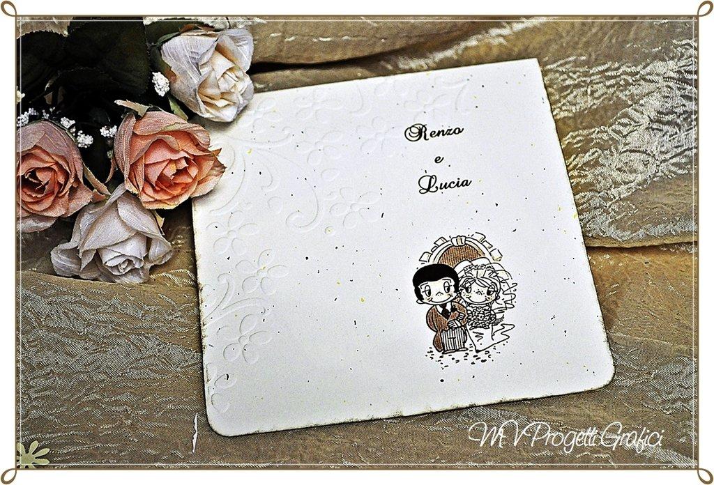 Partecipazione pieghevole quadrata Love is..Collezione Vintage
