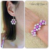 Parure bracciale e orecchini con margherita di perle.