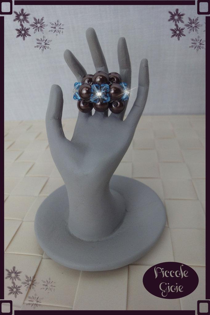 Anello Bronzo/Azzurro con Cristalli Swarovsky