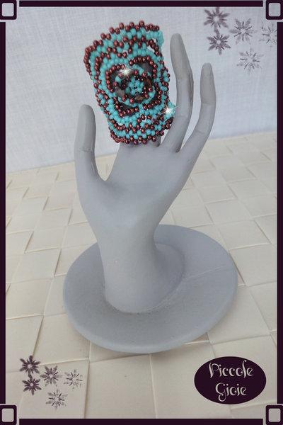 Anello Bronzo/Turchese con Cristalli Swarovsky Color Bronzo