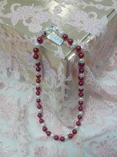 collana girocollo con perle avorio e bordeaux