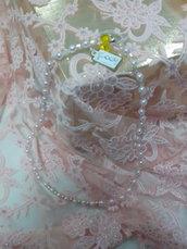 C 009 - Collana girocollo perle bianche e trasparenti