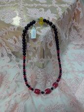 C 010 - Collana girocollo perle rosse/nere