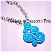 Collana a girocollo con spirali in fimo color turchese