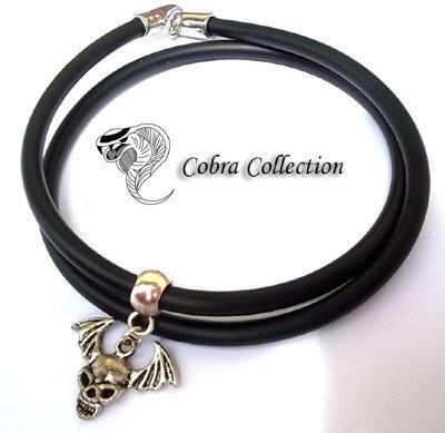 Bracciale/Collana in PVC con inserto teschio - Lutryx