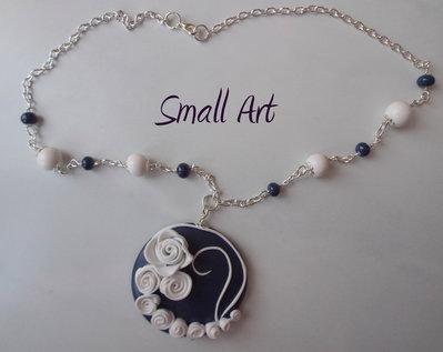 Collana con Rose handmade con fimo - catena tono argento - girocollo