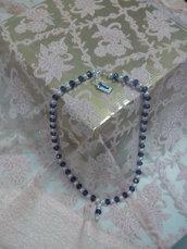 M 001 - Collana perle vetro bianche/nere