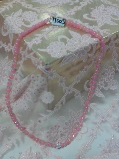 M 005 - Collana media perle vetro rosa