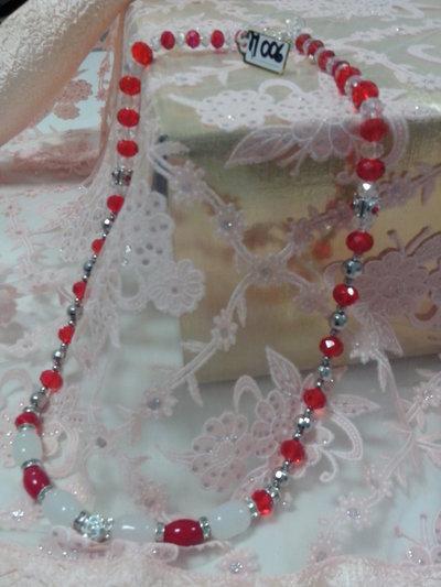 M 006 - Collana perle vetro bianche/rosse