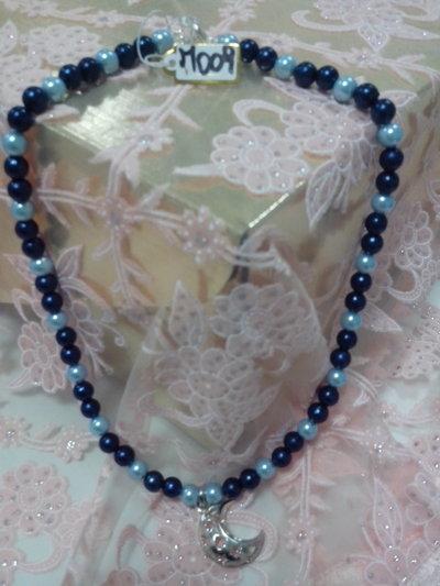 M 009 - Collana perle blu e azzurre