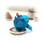 Anello gelato gusto puffo ice cream fimo regolabile miniatura realistica food cibo celeste