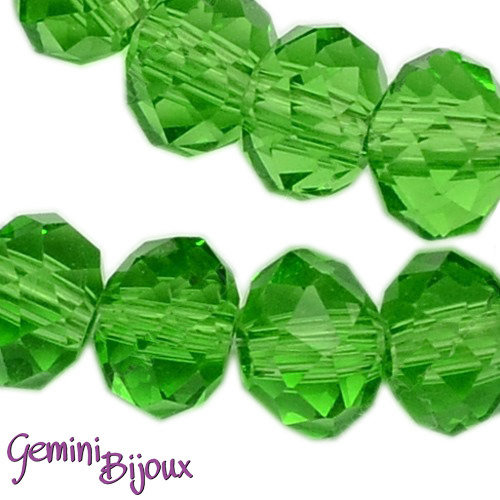 Lotto 10 rondelle in vetro sfaccettate 8x6 verde prato