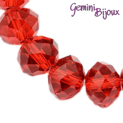Lotto 10 rondelle in vetro sfaccettate 8x6 rosso