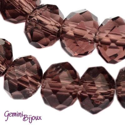 Lotto 10 rondelle in vetro sfaccettate 8x6 viola scuro