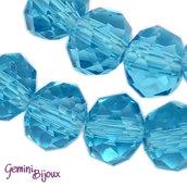 Lotto 10 rondelle in vetro sfaccettate 8x6 azzurro