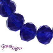 Lotto 10 rondelle in vetro sfaccettate 8x6 blu