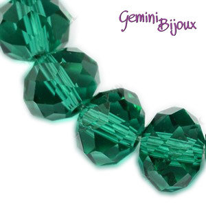 Lotto 10 rondelle in vetro sfaccettate 10x7 verde foresta