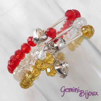 Bracciale tre file semicristalli su filo elastico e pendente cuore, rosso-crystal-gold, fatto a mano
