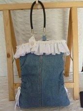 borsa jeans con balza in sangallo